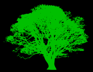 Tree, Green Silhouette, Black Background Clip Art