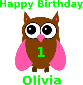 Pink Owl Olivia Birthday 2 Clip Art