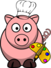 Pig With Palette Clip Art