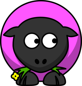 Pink Sheep Looking Down Clip Art