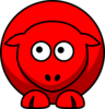 Sheep Red Looking Up To Right Clip Art