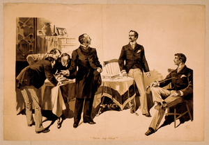 [men Examining Ledgers With Two Men To Side, One Wearing Expression Of Concern] Image