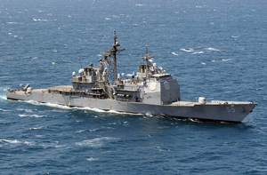 The Guided Missile Cruiser Uss Princeton (cg 59) Is Currently Deployed Conducting Combat Missions Image