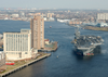 The Nuclear Powered Aircraft Carrier Uss George Washington (cvn 73) Passes Downtown Norfolk, Va. During Her Transit Down The Elizabeth River From Norfolk Naval Station To Norfolk Naval Shipyard In Portsmouth, Va. Image