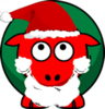 Sheep Red And Green Looking Up At Santa Hat Beard X Image