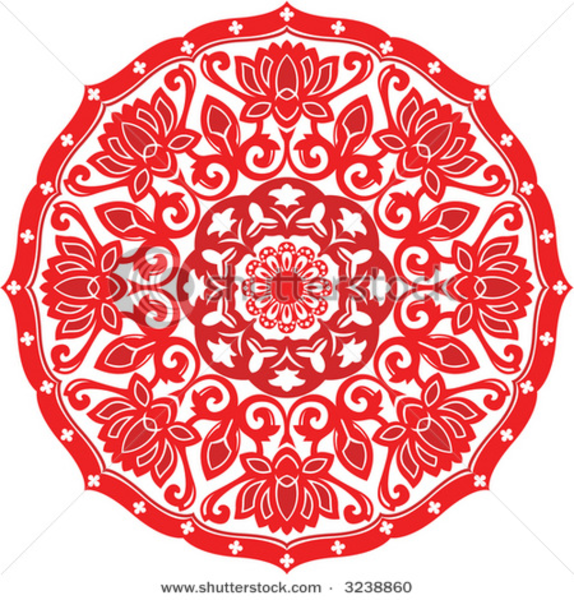 stock vector chinese paper cut design of chinese lotus