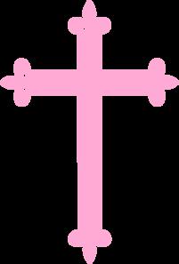 Pink Fleur Di Lis Cross Clip Art at Clker.com - vector ...