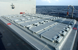 A Topside View Of The Forward Mk-41 Vertical Launching System (vls) Aboard The Guided Missile Cruiser Uss San Jacinto (cg 56) Image
