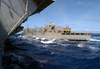 The Fast Combat Support Ship Uss Sacramento (aoe 1) Conducts Underway Replenishment (unrep) With The Uss Carl Vinson (cvn 70). Image