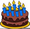 Birthday Cake Lots Of Candles Clipart Image