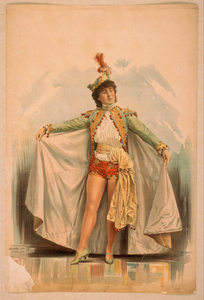 [asian Woman In Shorts, Cape, And Feathered Hat] Image