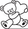 Brown Bear Black And White Clipart Image