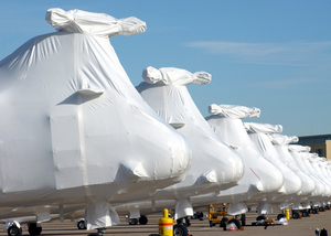 Sea Knights Sit On The Ramp At North Island After Being Shrink Wrapped Image