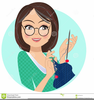 Woman Knitting Clipart Image