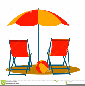 Beach Chairs Umbrellas Clipart Image