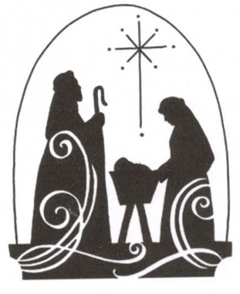 Christmas religious. Clipart black and white
