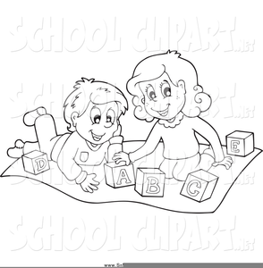 Black And White Clipart Of Kids Playing Image