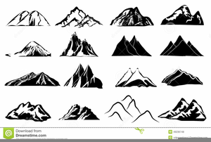 Black And White Clipart Of Mountains Image