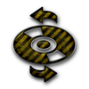 Yellow Black Striped Grunge Construction Icon Media Cd Refresh Image