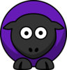 Sheep - Purple On Black  Clip Art