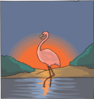 Flamingo With The Sunset Clip Art