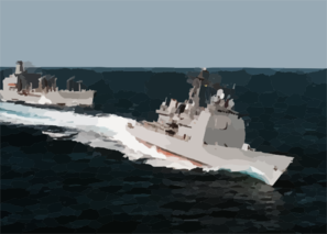 U.s. Navy S Ticonderoga Class Cruiser Uss San Jacinto (cg 56) (center) Executes A High-speed Break Away Following Replenishment At Sea (ras) Operations With The Military Sealift Command Replenishment Oiler Usns Big Horn (t-ao 198) Clip Art
