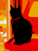 Black Cat On Tower In Living Room Crop Vector Colour Contrast Enhance Image