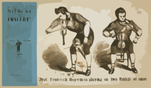 Prof. Frederick Hap-e-man Playing On Two Violins At Once Clip Art