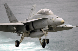 An F/a-18 Hornet Launches From The Flight Deck Of Uss John C. Stennis (cvn 74) Image