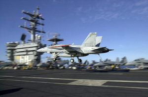 An F/a-18c Prepares To Land On The Flight Deck Aboard Uss Nimitz (cvn 68) Image