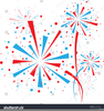 Red White And Blue Fireworks Clipart Image