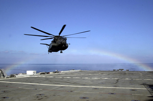 Mh-53e Sea Dragon Makes Prepares To Land Aboard Ship. Image