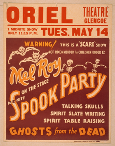 Mel Roy On The Stage Mid-nite, Spook Party Talking Skulls, Spirit Slate Writing, Spirit Table Raising, Ghosts From The Dead. Image