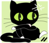 Angry Black Cat With White Socks Clip Art