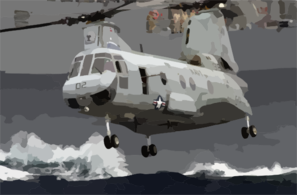 A Ch-46 Sea Knight Carries Supplies And Stores During A Vertical Replenishment (vertrep) Clip Art
