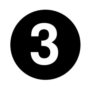 White Numeral  3  Centered Inside Black Circle Clip Art