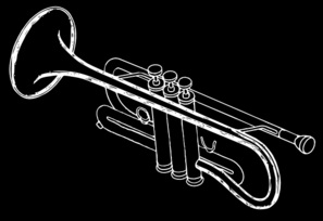 Trumpet White On Black Clip Art