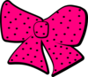 Pink Hair Bow With Black Dots Clip Art
