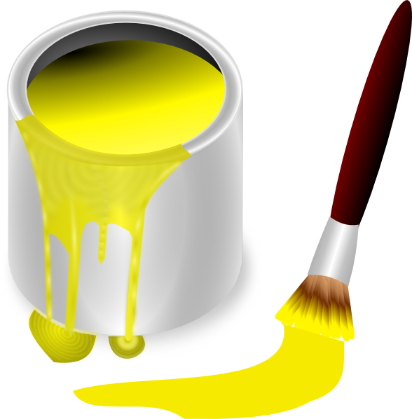 Yellow Paint Alluring Yellow Paint With Paint Brush Clip Art At Clker  Vector Clip Decorating Design