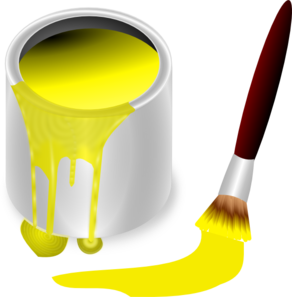 Yellow Paint With Paint Brush Clip Art