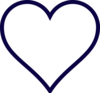 Midnight Blue Outline Heart Clip Art