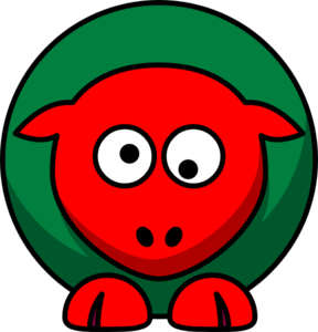 Sheep Red Green Toned Looking Crossed-eye2 Clip Art