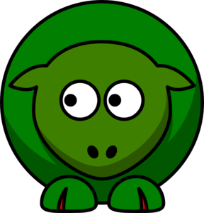 Sheep Two Shades Green Clip Art