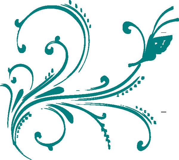 Purple Butterfly Scroll Clip Art At Clker Com: Teal Flourish With Butterfly Clip Art At Clker.com