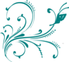 Teal Flourish With Butterfly Clip Art