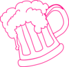 Pink Outline Beer Mug Clip Art