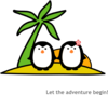 Two Penguins At Beach Clip Art