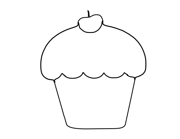 Cup Cake Outline Clip Art at Clker.com - vector clip art ...