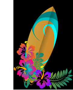 Surf Board Hibiscus Clip Art
