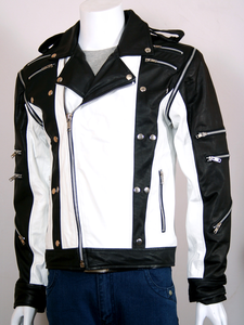 Michael Jackson Mj Pepsi Black And White Biker Leather Jacket Front Image